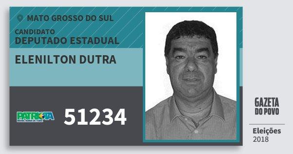Santinho Elenilton Dutra 51234 (PATRI) Deputado Estadual | Mato Grosso do Sul | Eleições 2018