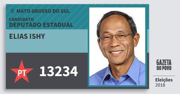 Santinho Elias Ishy 13234 (PT) Deputado Estadual | Mato Grosso do Sul | Eleições 2018