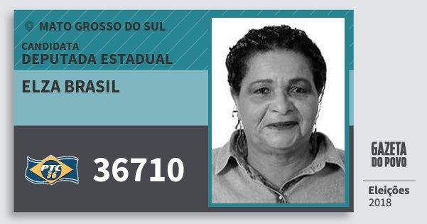Santinho Elza Brasil 36710 (PTC) Deputada Estadual | Mato Grosso do Sul | Eleições 2018