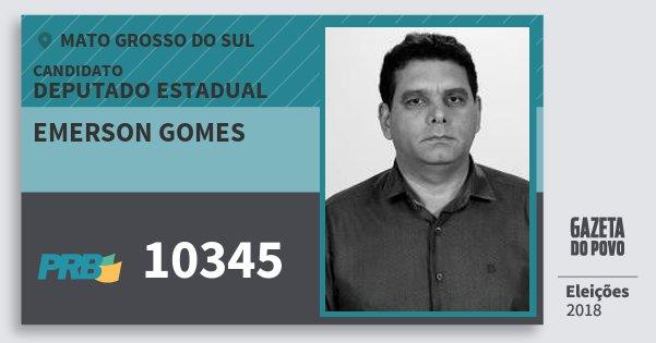 Santinho Emerson Gomes 10345 (PRB) Deputado Estadual | Mato Grosso do Sul | Eleições 2018