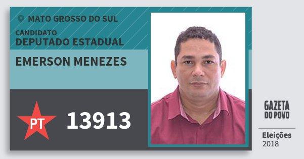Santinho Emerson Menezes 13913 (PT) Deputado Estadual | Mato Grosso do Sul | Eleições 2018
