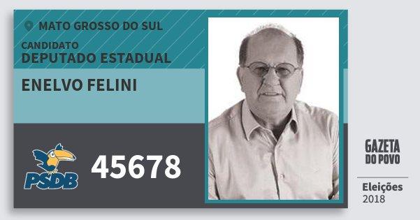 Santinho Enelvo Felini 45678 (PSDB) Deputado Estadual | Mato Grosso do Sul | Eleições 2018