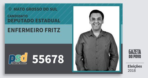 Santinho Enfermeiro Fritz 55678 (PSD) Deputado Estadual | Mato Grosso do Sul | Eleições 2018