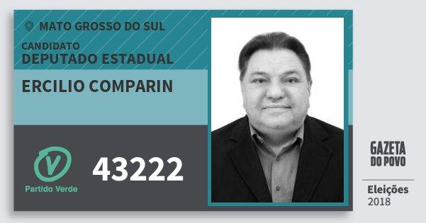 Santinho Ercilio Comparin 43222 (PV) Deputado Estadual | Mato Grosso do Sul | Eleições 2018