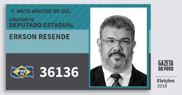 Santinho Erkson Resende 36136 (PTC) Deputado Estadual | Mato Grosso do Sul | Eleições 2018