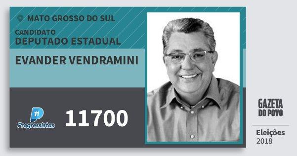 Santinho Evander Vendramini 11700 (PP) Deputado Estadual | Mato Grosso do Sul | Eleições 2018