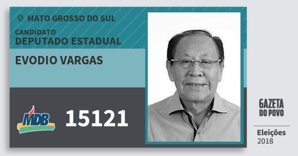 Santinho Evodio Vargas 15121 (MDB) Deputado Estadual | Mato Grosso do Sul | Eleições 2018