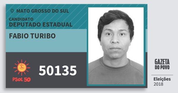Santinho Fabio Turibo 50135 (PSOL) Deputado Estadual | Mato Grosso do Sul | Eleições 2018