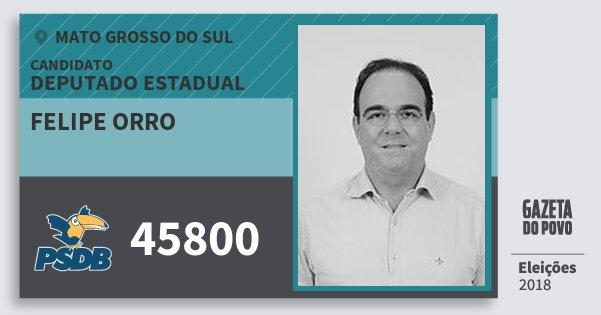 Santinho Felipe Orro 45800 (PSDB) Deputado Estadual | Mato Grosso do Sul | Eleições 2018