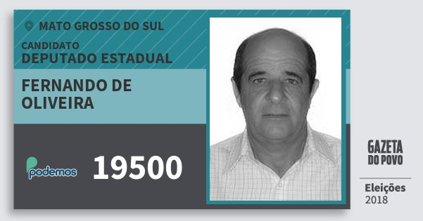 Santinho Fernando de Oliveira 19500 (PODE) Deputado Estadual | Mato Grosso do Sul | Eleições 2018