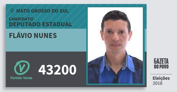 Santinho Flávio Nunes 43200 (PV) Deputado Estadual | Mato Grosso do Sul | Eleições 2018