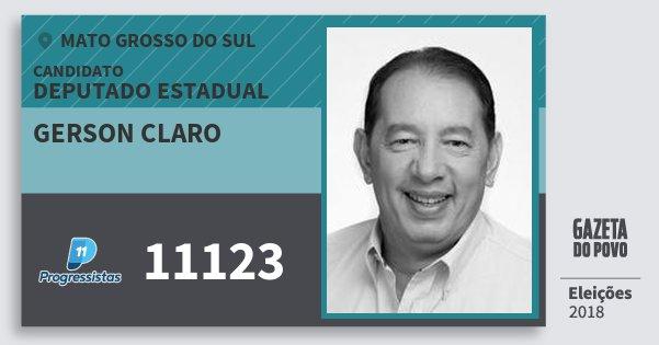 Santinho Gerson Claro 11123 (PP) Deputado Estadual | Mato Grosso do Sul | Eleições 2018