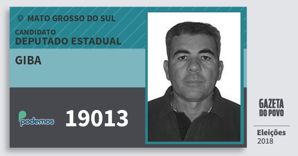 Santinho Giba 19013 (PODE) Deputado Estadual | Mato Grosso do Sul | Eleições 2018