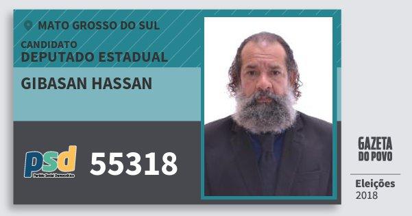 Santinho Gibasan Hassan 55318 (PSD) Deputado Estadual | Mato Grosso do Sul | Eleições 2018