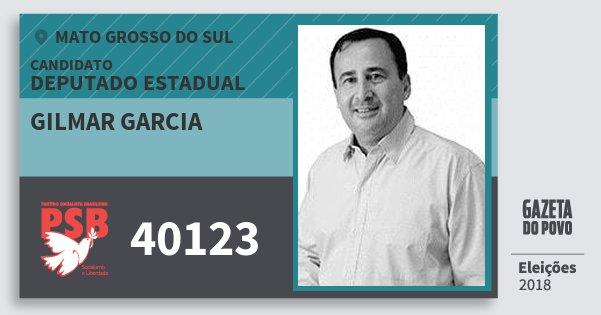 Santinho Gilmar Garcia 40123 (PSB) Deputado Estadual | Mato Grosso do Sul | Eleições 2018