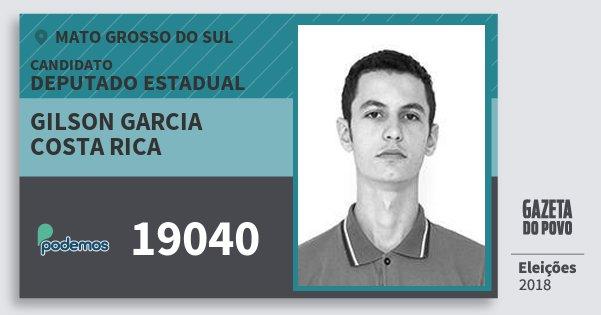 Santinho Gilson Garcia Costa Rica 19040 (PODE) Deputado Estadual | Mato Grosso do Sul | Eleições 2018