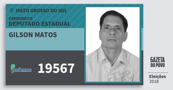 Santinho Gilson Matos 19567 (PODE) Deputado Estadual | Mato Grosso do Sul | Eleições 2018