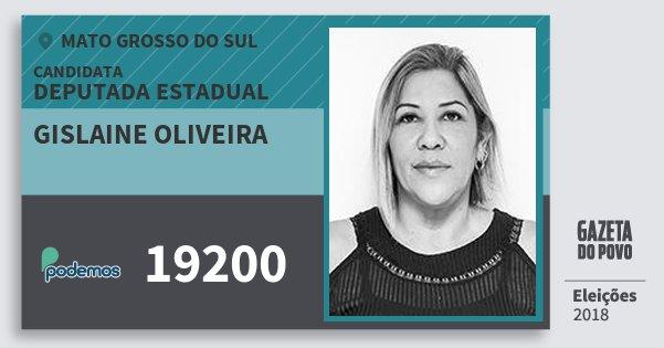 Santinho Gislaine Oliveira 19200 (PODE) Deputada Estadual | Mato Grosso do Sul | Eleições 2018