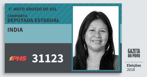 Santinho India 31123 (PHS) Deputada Estadual | Mato Grosso do Sul | Eleições 2018