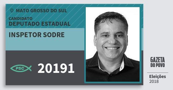 Santinho Inspetor Sodre 20191 (PSC) Deputado Estadual | Mato Grosso do Sul | Eleições 2018