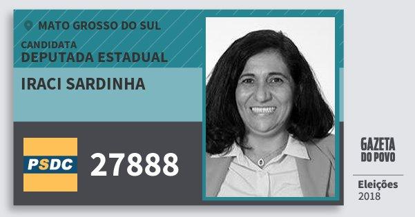 Santinho Iraci Sardinha 27888 (DC) Deputada Estadual   Mato Grosso do Sul   Eleições 2018