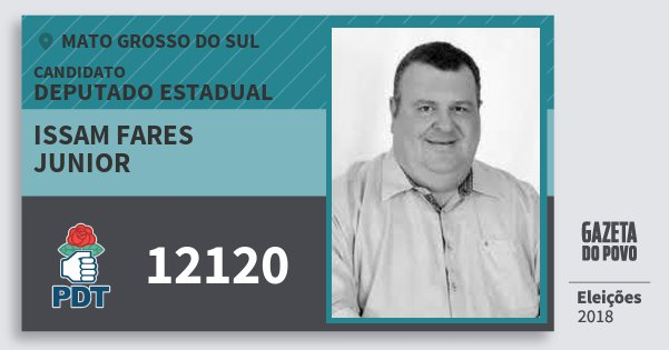 Santinho Issam Fares Junior 12120 (PDT) Deputado Estadual | Mato Grosso do Sul | Eleições 2018