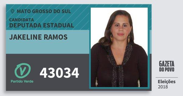 Santinho Jakeline Ramos 43034 (PV) Deputada Estadual | Mato Grosso do Sul | Eleições 2018