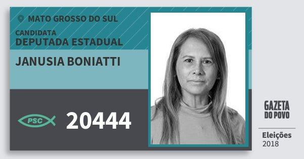 Santinho Janusia Boniatti 20444 (PSC) Deputada Estadual | Mato Grosso do Sul | Eleições 2018