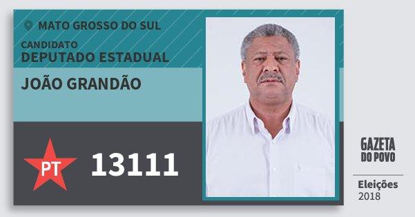 Santinho João Grandão 13111 (PT) Deputado Estadual | Mato Grosso do Sul | Eleições 2018