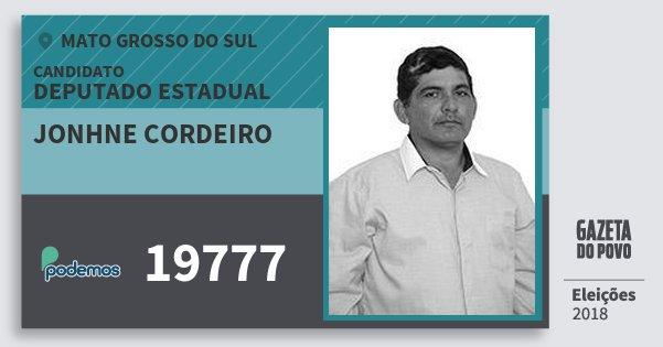 Santinho Jonhne Cordeiro 19777 (PODE) Deputado Estadual | Mato Grosso do Sul | Eleições 2018