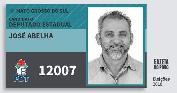 Santinho José Abelha 12007 (PDT) Deputado Estadual | Mato Grosso do Sul | Eleições 2018