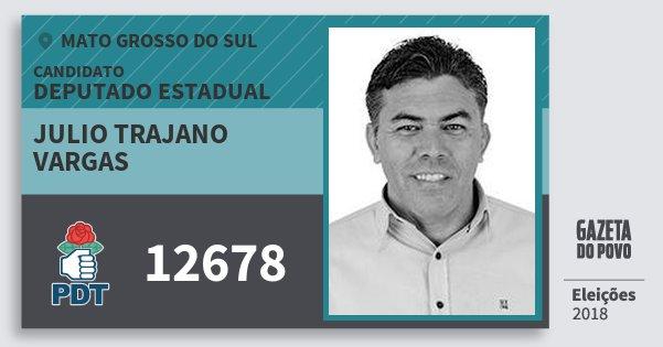 Santinho Julio Trajano Vargas 12678 (PDT) Deputado Estadual | Mato Grosso do Sul | Eleições 2018