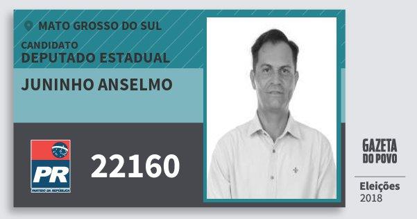 Santinho Juninho Anselmo 22160 (PR) Deputado Estadual | Mato Grosso do Sul | Eleições 2018