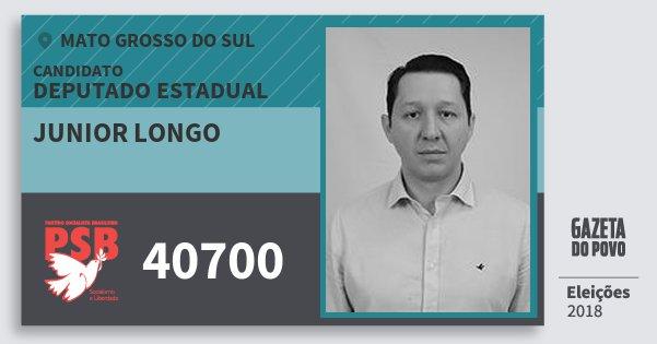 Santinho Junior Longo 40700 (PSB) Deputado Estadual | Mato Grosso do Sul | Eleições 2018