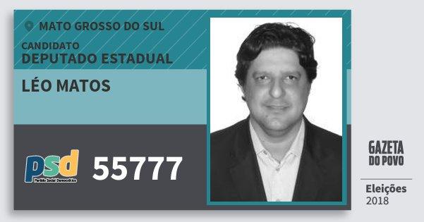 Santinho Léo Matos 55777 (PSD) Deputado Estadual | Mato Grosso do Sul | Eleições 2018
