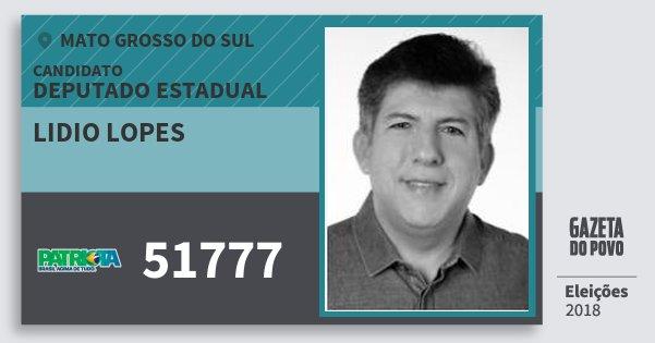 Santinho Lidio Lopes 51777 (PATRI) Deputado Estadual | Mato Grosso do Sul | Eleições 2018