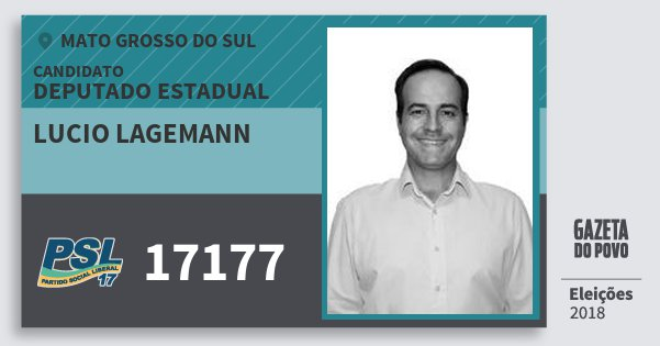 Santinho Lucio Lagemann 17177 (PSL) Deputado Estadual | Mato Grosso do Sul | Eleições 2018