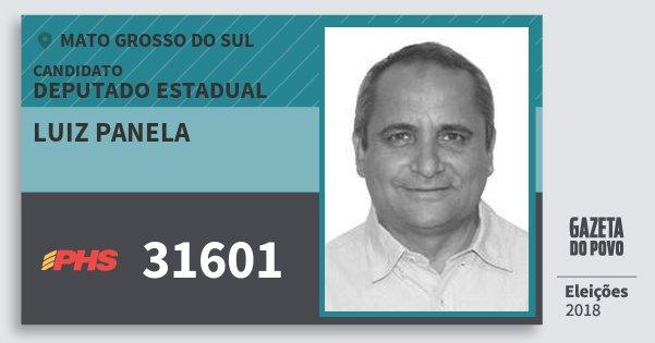 Santinho Luiz Panela 31601 (PHS) Deputado Estadual | Mato Grosso do Sul | Eleições 2018