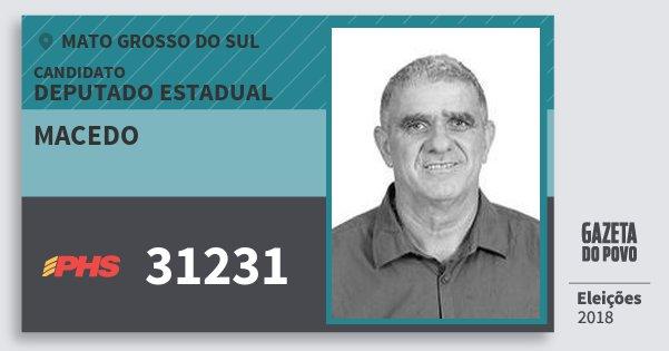 Santinho Macedo 31231 (PHS) Deputado Estadual | Mato Grosso do Sul | Eleições 2018