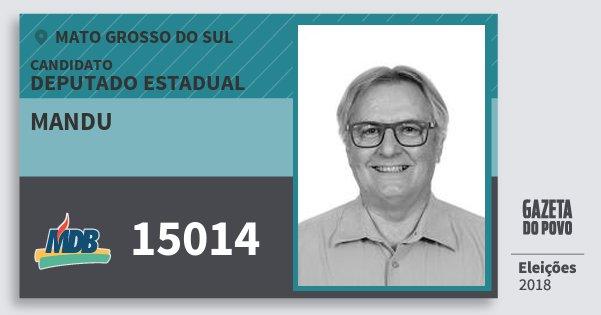 Santinho Mandu 15014 (MDB) Deputado Estadual | Mato Grosso do Sul | Eleições 2018