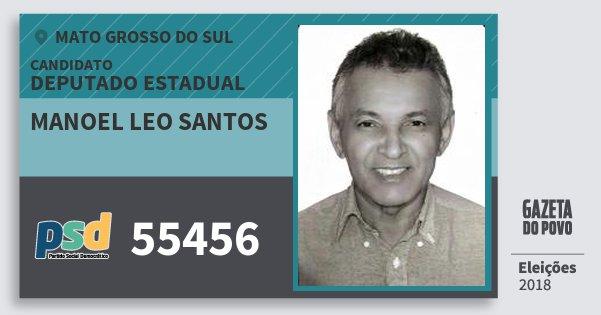 Santinho Manoel Leo Santos 55456 (PSD) Deputado Estadual | Mato Grosso do Sul | Eleições 2018