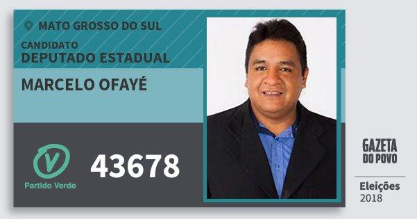 Santinho Marcelo Ofayé 43678 (PV) Deputado Estadual | Mato Grosso do Sul | Eleições 2018