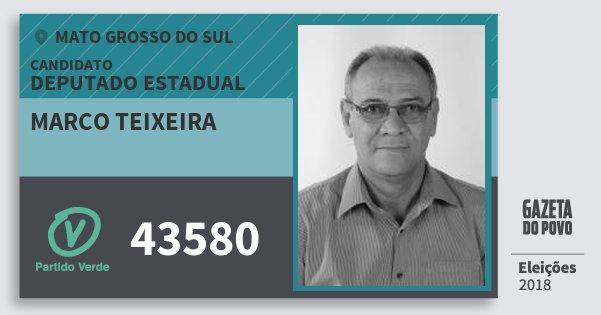 Santinho Marco Teixeira 43580 (PV) Deputado Estadual | Mato Grosso do Sul | Eleições 2018