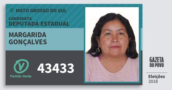 Santinho Margarida Gonçalves 43433 (PV) Deputada Estadual | Mato Grosso do Sul | Eleições 2018
