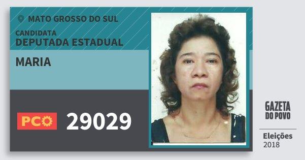 Santinho Maria 29029 (PCO) Deputada Estadual | Mato Grosso do Sul | Eleições 2018