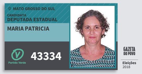 Santinho Maria Patricia 43334 (PV) Deputada Estadual | Mato Grosso do Sul | Eleições 2018