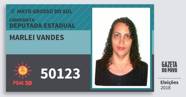Santinho Marlei Vandes 50123 (PSOL) Deputada Estadual | Mato Grosso do Sul | Eleições 2018