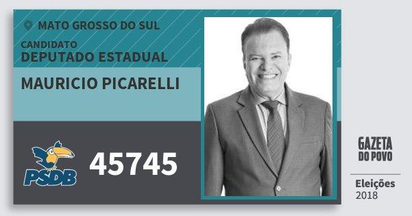 Santinho Mauricio Picarelli 45745 (PSDB) Deputado Estadual | Mato Grosso do Sul | Eleições 2018