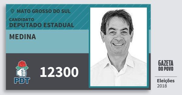 Santinho Medina 12300 (PDT) Deputado Estadual | Mato Grosso do Sul | Eleições 2018