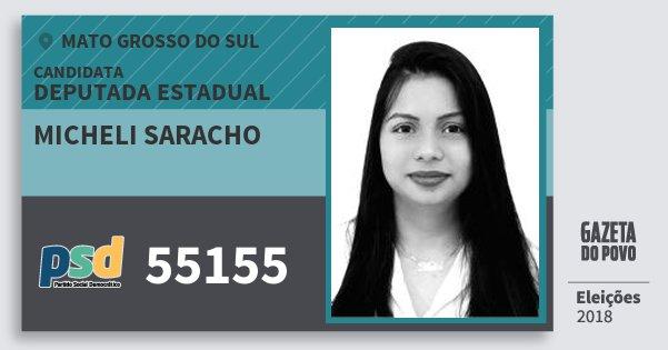 Santinho Micheli Saracho 55155 (PSD) Deputada Estadual | Mato Grosso do Sul | Eleições 2018